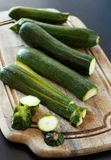 Fresh zucchini on wooden board Stock Image