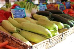 Fresh zucchinis at a farmer market in France, Europe. Italian vegetables. Street French market at Nice. Fresh food by local farmers Stock Image