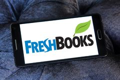 Freshbooks cloud accounting logo. Logo of Freshbooks cloud accounting company on samsung mobile. Freshbooks, Inc., provides cloud-based accounting solutions for Royalty Free Stock Photos