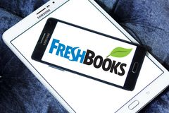 Freshbooks cloud accounting logo. Logo of Freshbooks cloud accounting company on samsung mobile. Freshbooks, Inc., provides cloud-based accounting solutions for Stock Photos