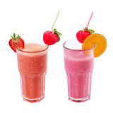 Freshening strawberry smoothie  isolated on white Royalty Free Stock Image