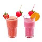 Freshening strawberry smoothie isolated on white royalty free stock image