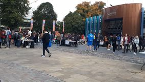 Freshers fair in Coventry stock footage