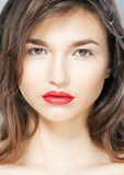 Freshess and sensuality - cute girl face closeup Royalty Free Stock Photos