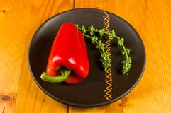 A freshest red paprika, bell pepper in ceramic plate. With basil flowers on wooden background, close up royalty free stock images