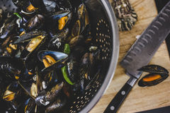 Freshley Prepared Mussels Royalty Free Stock Photos