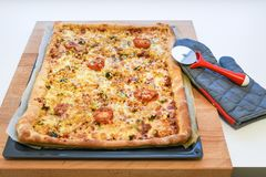 Freshly backed delicious crunchy homemade pizza royalty free stock images