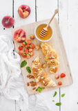 Freshly baked almond croissants with garden Stock Images