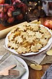 Pretty Baked Apple Pie with Plates Stock Photos