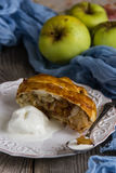 Freshly baked apple strudel with ice cream Stock Photo