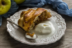 Freshly baked apple strudel with ice cream Royalty Free Stock Image
