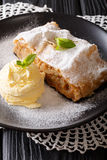 Freshly baked apple strudel with vanilla ice cream and mint clos. Eup on a plate. vertical Stock Images