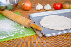 Freshly baked artisan pizza with fresh produce and cheese. Stock Images