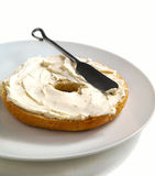 Freshly Baked Bagel with Cream Cheese for Breakfast Stock Images