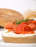 Freshly baked bagel with cream cheese and lox Royalty Free Stock Photos