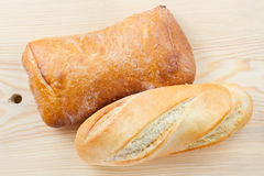 Freshly baked baguette and bread Stock Photos
