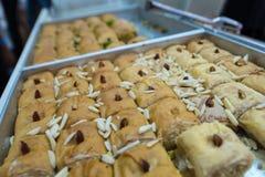 Freshly baked Baklava in Mahane Yehuda Market royalty free stock photography
