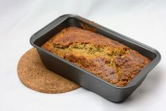 Freshly Baked Banana Bread in Loaf Pan Royalty Free Stock Photography