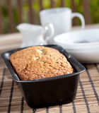 Freshly baked banana bread in an outdoor setting Stock Image