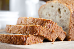 Freshly baked banana bread on wooden board Royalty Free Stock Image