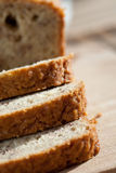 Freshly baked banana bread on wooden board Royalty Free Stock Photography