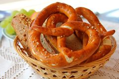 Freshly baked Bavarian Pretzel (Brezel) Royalty Free Stock Photo