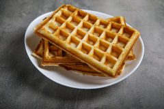 Freshly baked belgium waffles in plate Stock Photography
