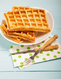 Freshly baked belgium waffles in plate. Breakfast concept with c Royalty Free Stock Images