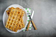 Freshly baked belgium waffles in plate with copy space. From top Royalty Free Stock Photo