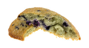 Freshly baked blueberry muffin top broken in half Royalty Free Stock Photos