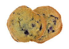 Freshly baked blueberry muffin tops on a white background Royalty Free Stock Photos