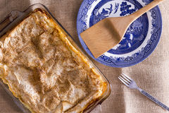 Freshly baked borek in an oven dish Stock Photos