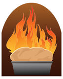 Freshly baked bread. An illustration of a home made loaf baking in a rustic oven with orange flames on a white background Stock Photo
