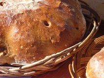 Freshly baked bread in a basket Royalty Free Stock Images
