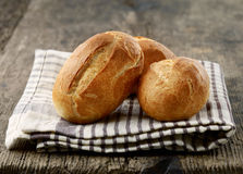 Freshly baked bread buns stock images