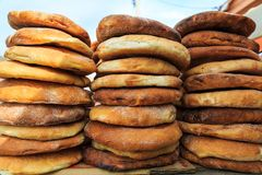 Freshly baked bread in the Eastern markets Royalty Free Stock Photos