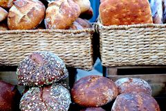 Freshly Baked Bread at Farmer`s Market Delicious royalty free stock image