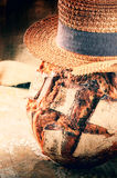 Freshly baked bread loaf with straw hat Stock Images