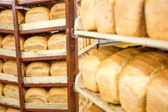 Freshly baked bread stacked and ready for packaging at factory Stock Images