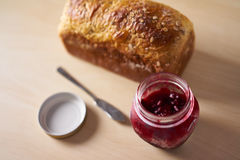 Freshly baked bread with strawberry jam Royalty Free Stock Photo