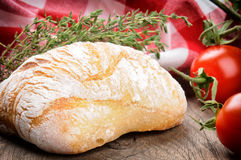 Freshly baked bread and thyme Royalty Free Stock Photos
