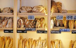 Freshly baked breads in French bakery Royalty Free Stock Images