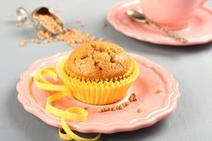 Freshly baked buckwheat muffins on the rose plate Stock Images