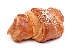 Freshly baked bun on white Royalty Free Stock Images