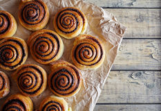 Freshly baked buns rolls with cinnamon and cocoa filling on parchment paper. Close-up. Kanelbulle. Royalty Free Stock Photo