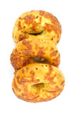Freshly baked cheese and onion bagels Stock Images