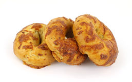 Freshly baked cheese and onion bagels Royalty Free Stock Photos
