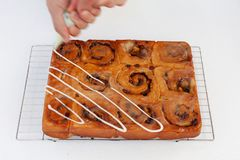 Freshly baked chelsea buns on a wire cooling rack with icing bei royalty free stock image