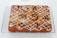 Freshly baked chelsea buns on a wire cooling rack - viewed from royalty free stock images