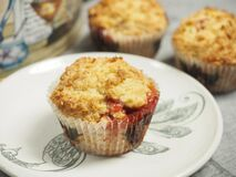 Freshly baked cherry muffins Stock Photo